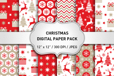 Red Christmas Digital Paper Pack