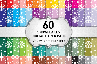 Snowflakes Christmas Digital Paper Pack
