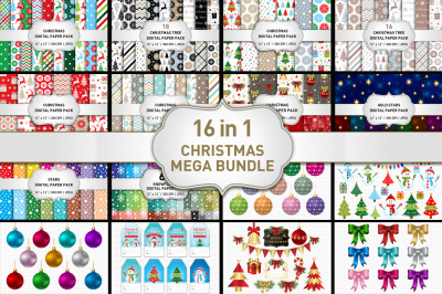 Christmas Bundle, Christmas Digital Paper, Christmas Clipart