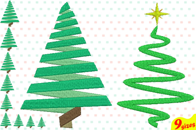 Christmas Tree Embroidery Design. Machine Instant Download Commercial Use digital file 4x4 5x7 hoop icon symbol sign Santa Tree mini xmas winter holiday new year  124b