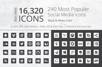 240 Square B&W Social Media Icons