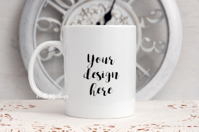 White coffee 11oz mug mock up clock decor rustic background