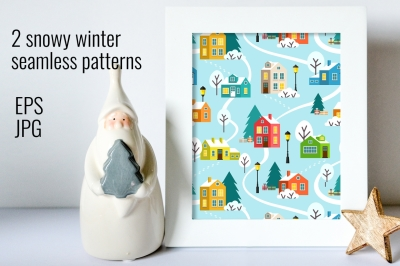 Winter town vector seamless patterns
