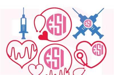 Nurse/Doctor Set - For monogramming - SVG, DXF, EPS, cutting files.