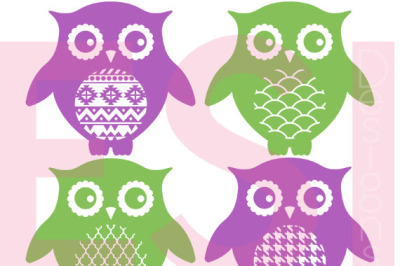 Patterned Owl Designs - Set 2 - SVG, PNG, DXF, EPS cutting files.