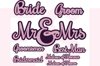 Wedding Party Names - SVG, DXF, EPS cutting files.