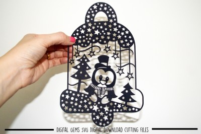 Penguin Bell paper cut SVG / DXF / EPS files