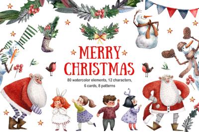 Merry Christmas - Watercolor Clip Art Set