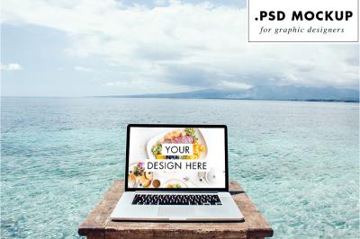 Sea view computer PSD mockup