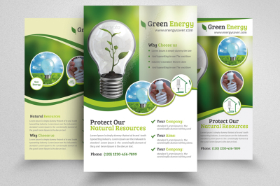 3 Layout Green Energy Flyer Templates