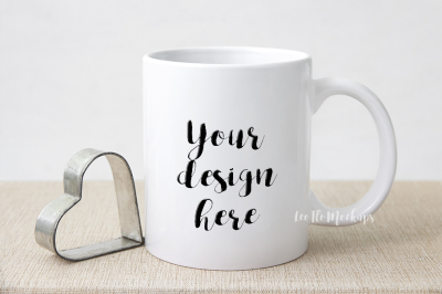 White coffee mug mock up, rustic valentine's day mock ups PSD smart, cup mug  mockup