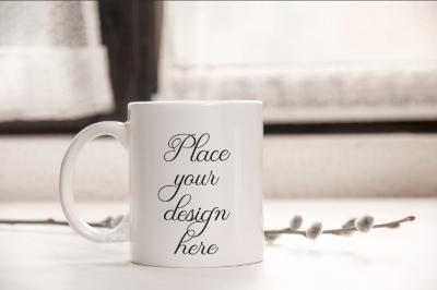 White coffee 11oz mug mock up, rustic mock ups, PSD smart mockup