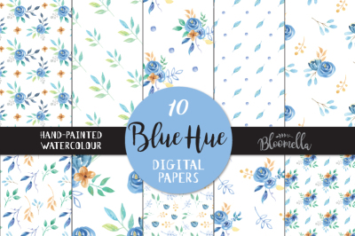 Pretty Blue Hue Watercolor Hand Painted Seamless Digital Papers Navy Gold Leaves Flowers PNG Files