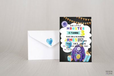 Birthday Invitation Card PURPLE MONSTER BIRTHDAY BASH
