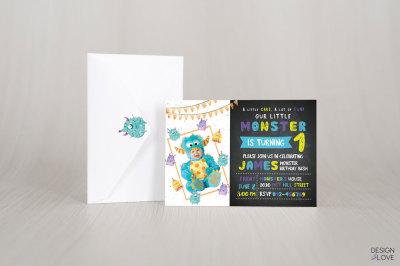 Birthday Invitation Card LITTLE MONSTER BIRTHDAY BASH