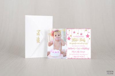 Birthday Invitation Card LITTLE PRINCESS STAR