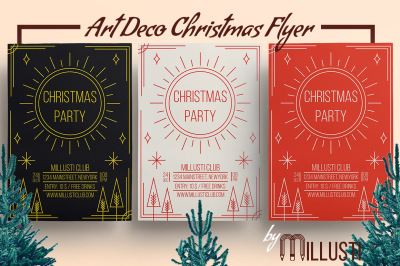 Art Deco Christmas Party Flyer Template