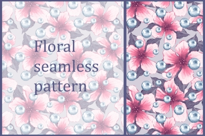 Pattern with flowers and pearls 4