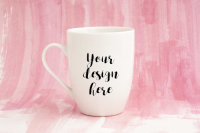 White mug mockup feminine pink romantic mock up coffee cup psd smart