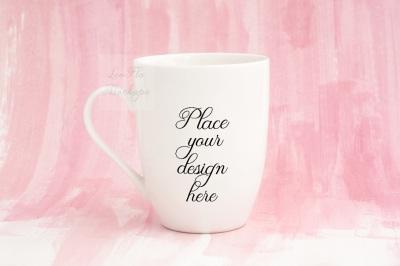 White mug mockup feminine pink romantic mock up coffee cup psd smart