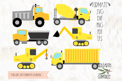 Under construction theme, trucks SVG, DXF, PNG, PDF, EPS formats