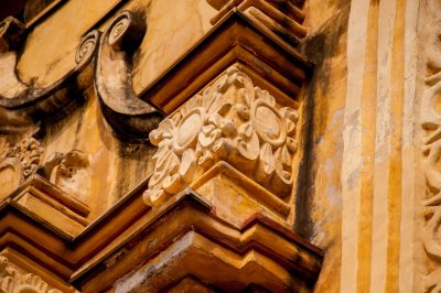 The detail of a baroque facade styled.