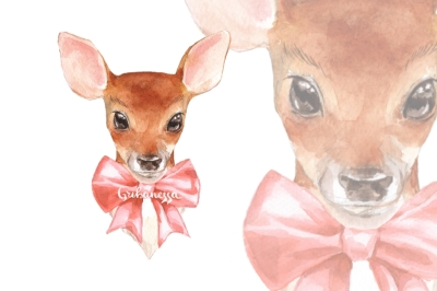 Fawn and bow. Young deer watercolor