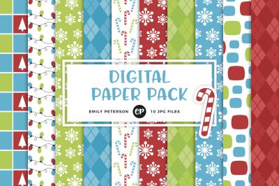 Retro Christmas Digital Papers