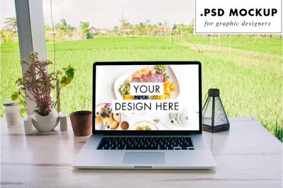 Digital nomad laptop mockup