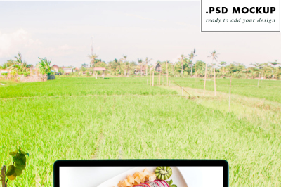 Computer PSD Mockup working from Bali