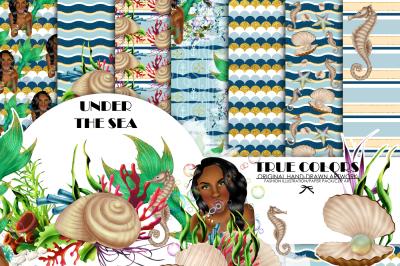 African American Mermaid Digital Paper Black Beautiful Woman Paper Pack Under the Sea Afro American Mermaid Digital Paper Green Watercolor
