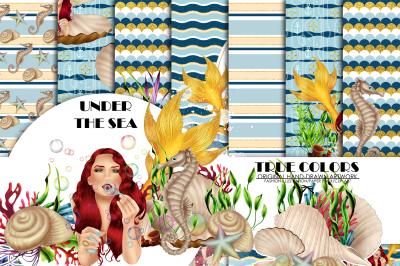 Mermaid Digital Paper Pack Red Hair Woman Paper Pack Under the Sea Digital Paper Blue Watercolor Paper Seahorse Mussel Pattern Periwinkle