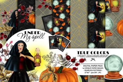 Halloween Digital Paper Pack Halloween Witch Seamless Pattern Crystal Ball Halloween Pattern Pumpkin Halloween Illustration Witch Fashion