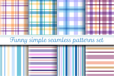 Funny simple seamless patterns set