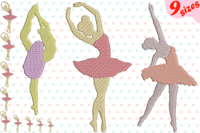 Ballet Ballerina Embroidery Design Instant Download Commercial Use digital file 4x4 5x7 hoop Machine icon symbol sign girls girl sport dance girl girls 127b