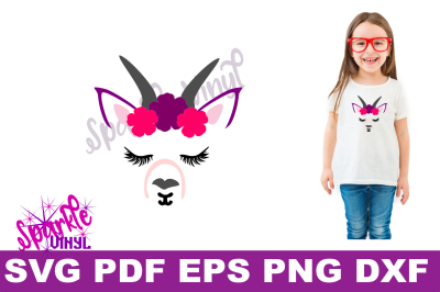 Svg Goat Face Flowers Printable Cut file svg dxf eps png eps for cricut and silhouette, Goat art