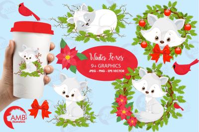 Winter Foxes clipart, graphics, illustrations AMB-2298
