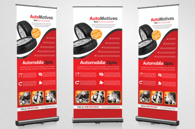 Automobile Tire Roll Up Banners