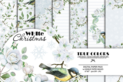 Christmas Digital Paper Pack White Christmas Paper Pack White Roses Watercolor Roses Paper Pack Roses Wreath Pack Christmas White Rose Buds