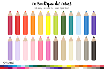 50 Rainbow Coloring Pencil Clip Art
