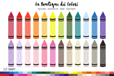 50 Rainbow Crayons Clip Art