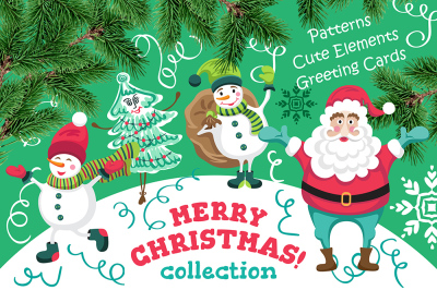 Merry Christmas collection - seamless patterns, elements and cards