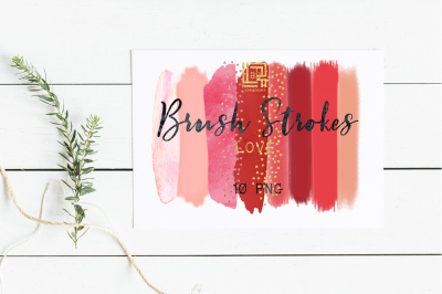 Brush Strokes Clip Art. Love collection. Hot pink, red, peach pink, blush pink, and heart glitter confetti strokes. Digital Design Resource.
