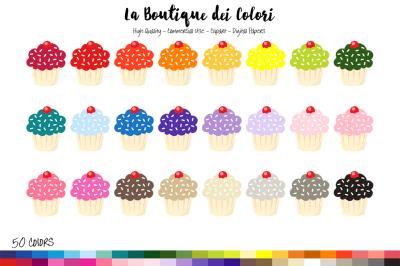 50 Rainbow Cupcake Clip Art