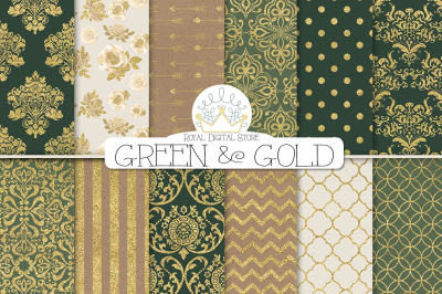 GREEEN and GOLD DAMASK digital paper