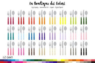 50 Rainbow Cutlery Clip Art