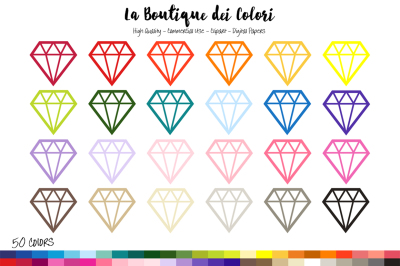 50 Rainbow Diamonds Clip Art