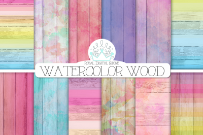 WATERCOLOR WOOD digital paper