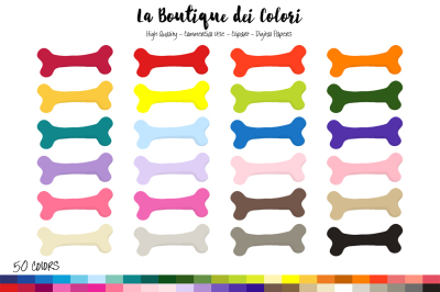 50 Rainbow Dog Bone Clip Art