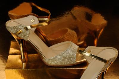Gold clutch with rhinestones